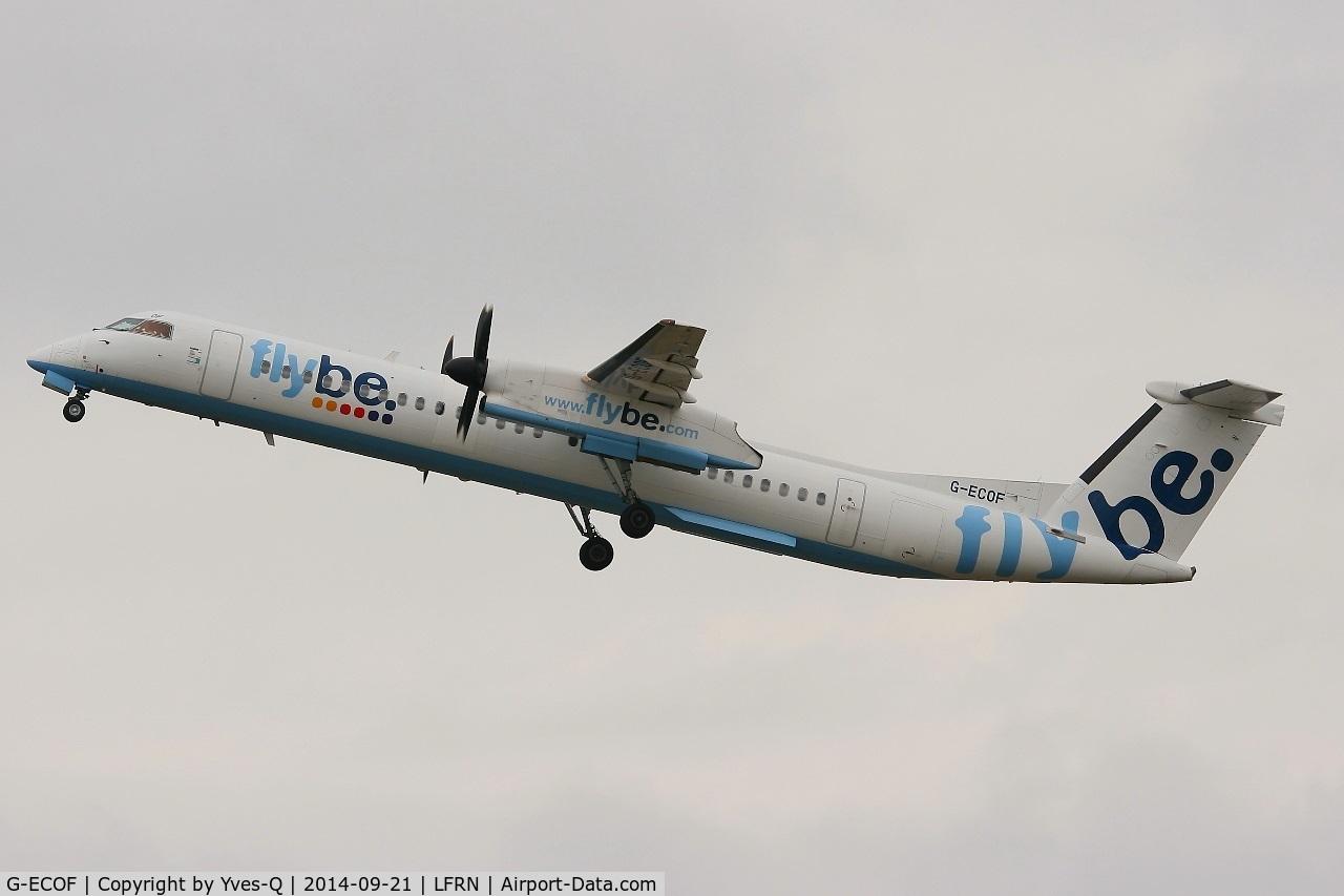 G-ECOF, 2008 De Havilland Canada DHC-8-402Q Dash 8 C/N 4216, De Havilland Canada Dash 8, Take off rwy 28, Rennes-St Jacques  airport (LFRN-RNS)