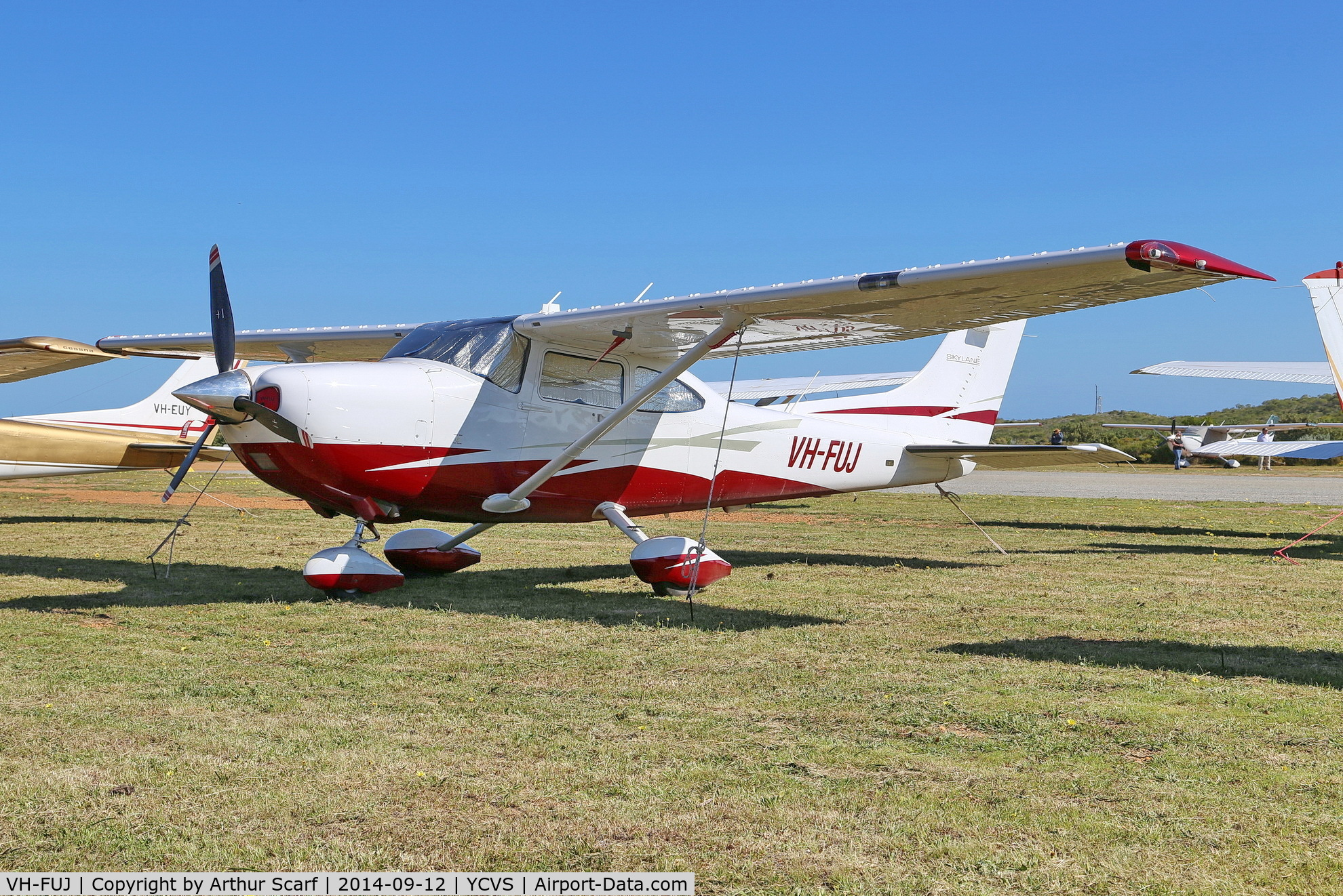 VH-FUJ, 2010 Cessna 182T Skylane C/N 18282267, Cervantes Airport WA. Cessna 182 Association of Australia fly in 2014.