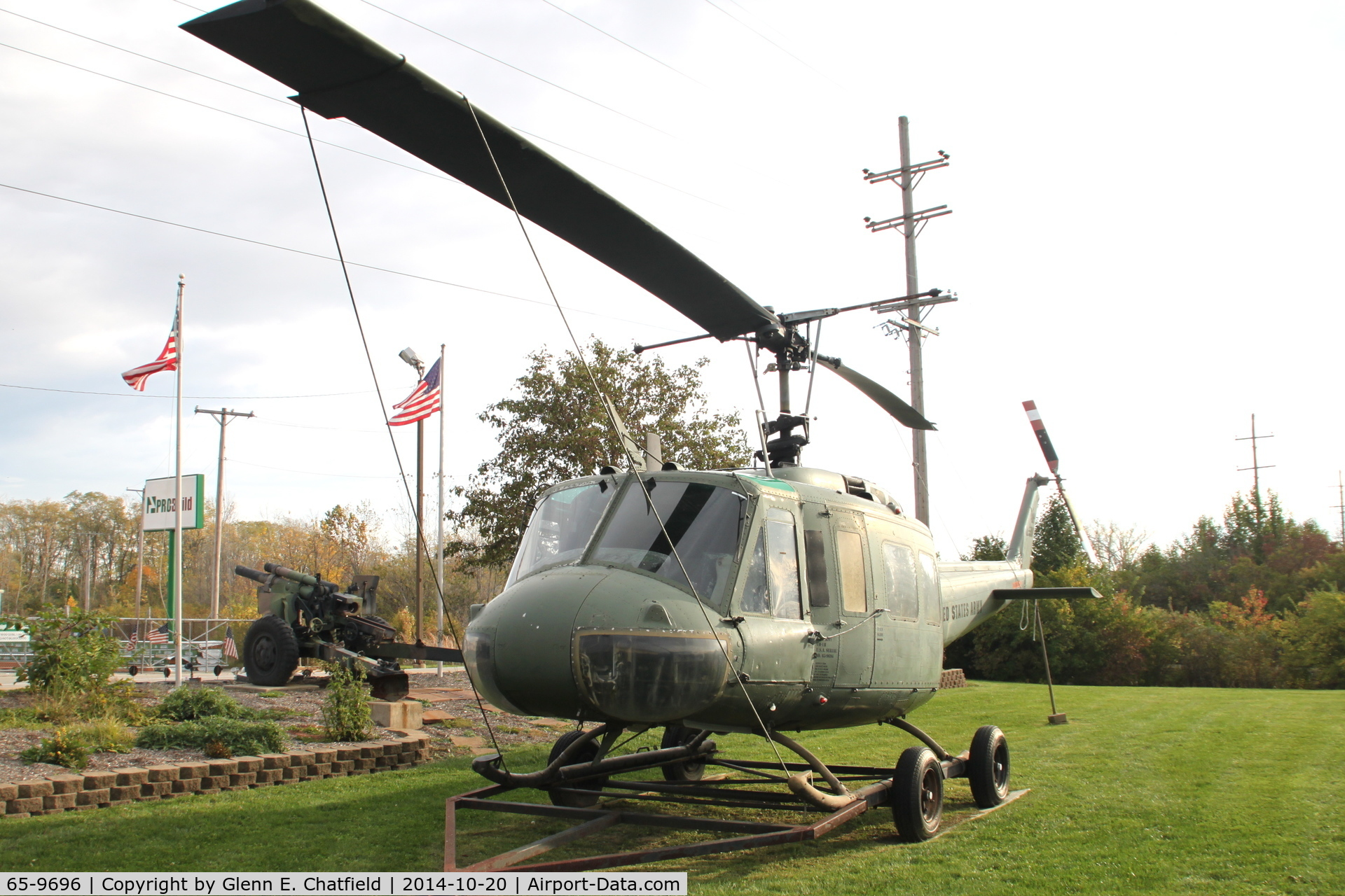 65-9696, 1965 Bell UH-1H Iroquois C/N 4640, At VFW post on Old Springfield RD, just east of Dixie Road, near NE corner of Dayton International Airport, Vandalia, OH
