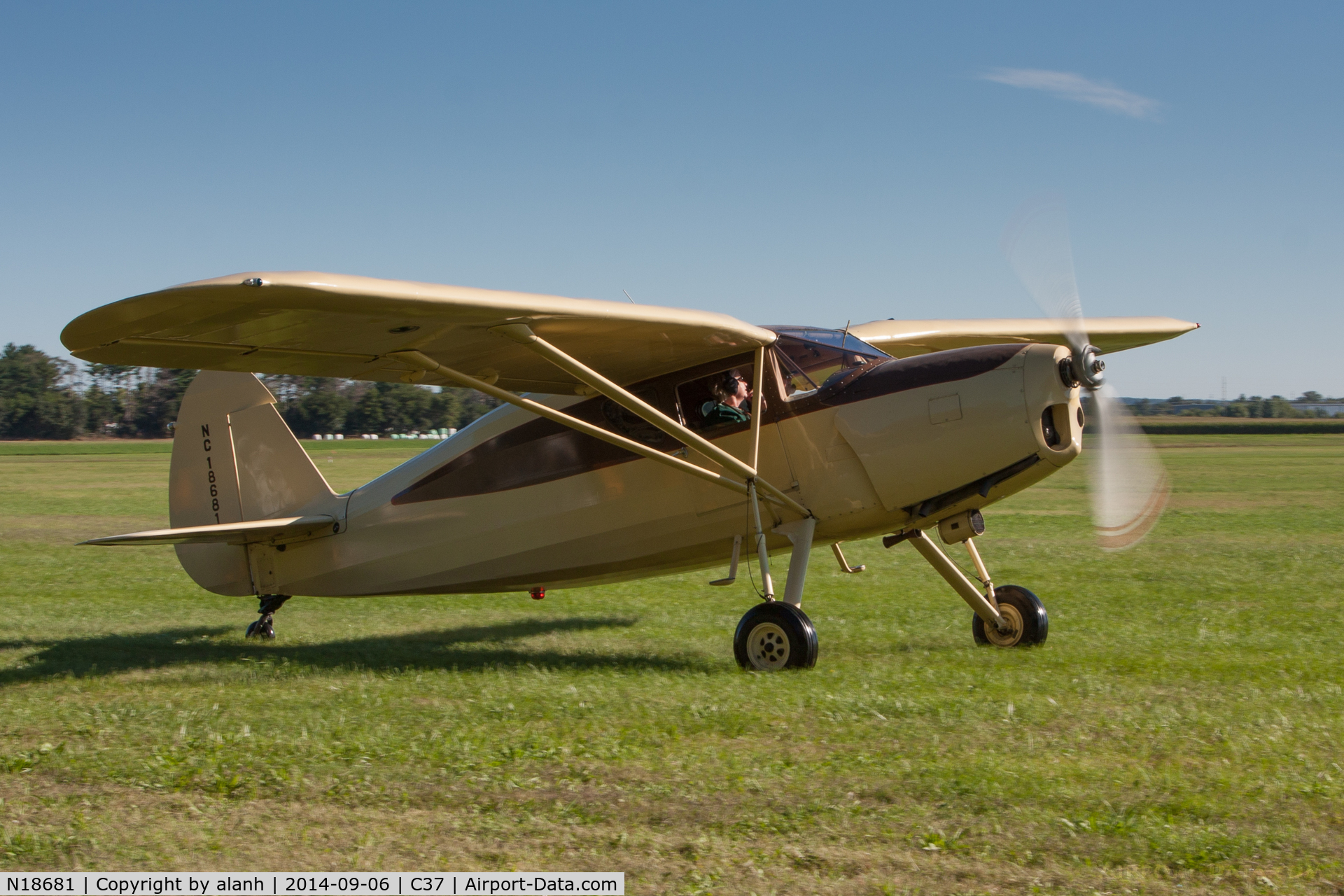 N18681, 1939 Fairchild 24 K C/N 3324, Arriving at the 2014 MAAA Grassroots fly-in