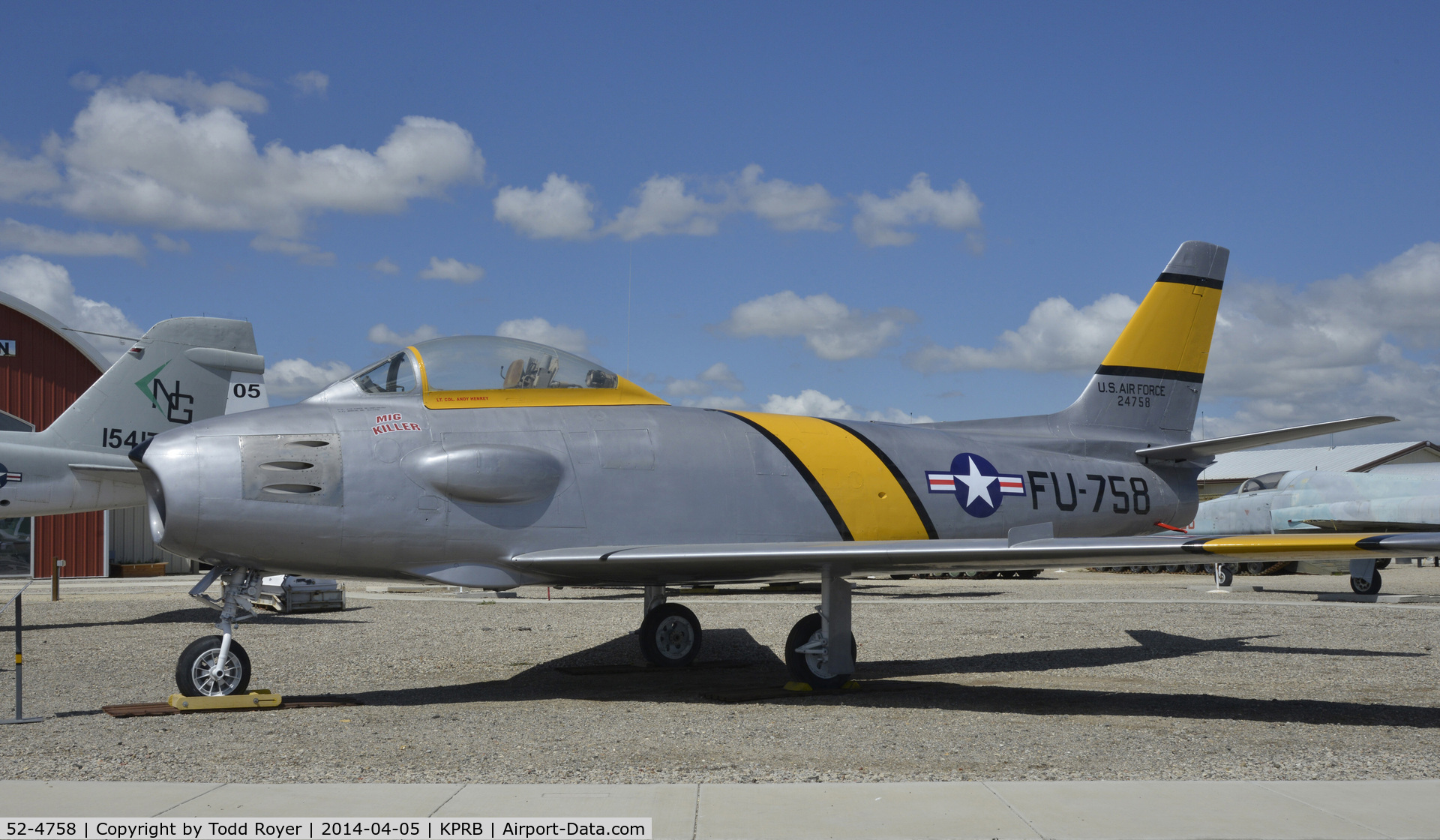 52-4758, North American RF-86F Sabre C/N 191-454, At the Estrella Air Museum