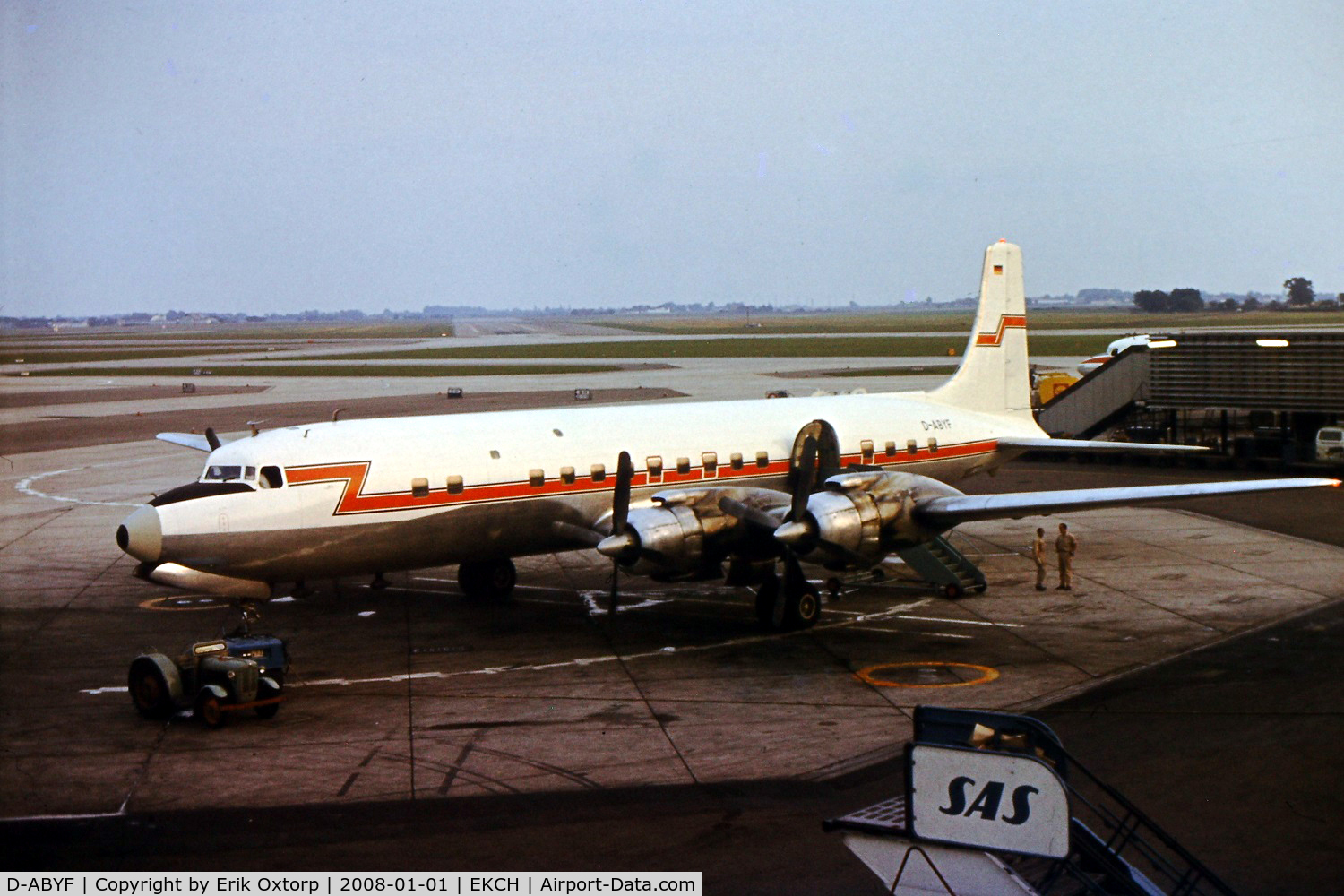 D-ABYF, 1956 Douglas DC-7C Seven Seas C/N 44933, D-ABYF in CPH in the late 60's