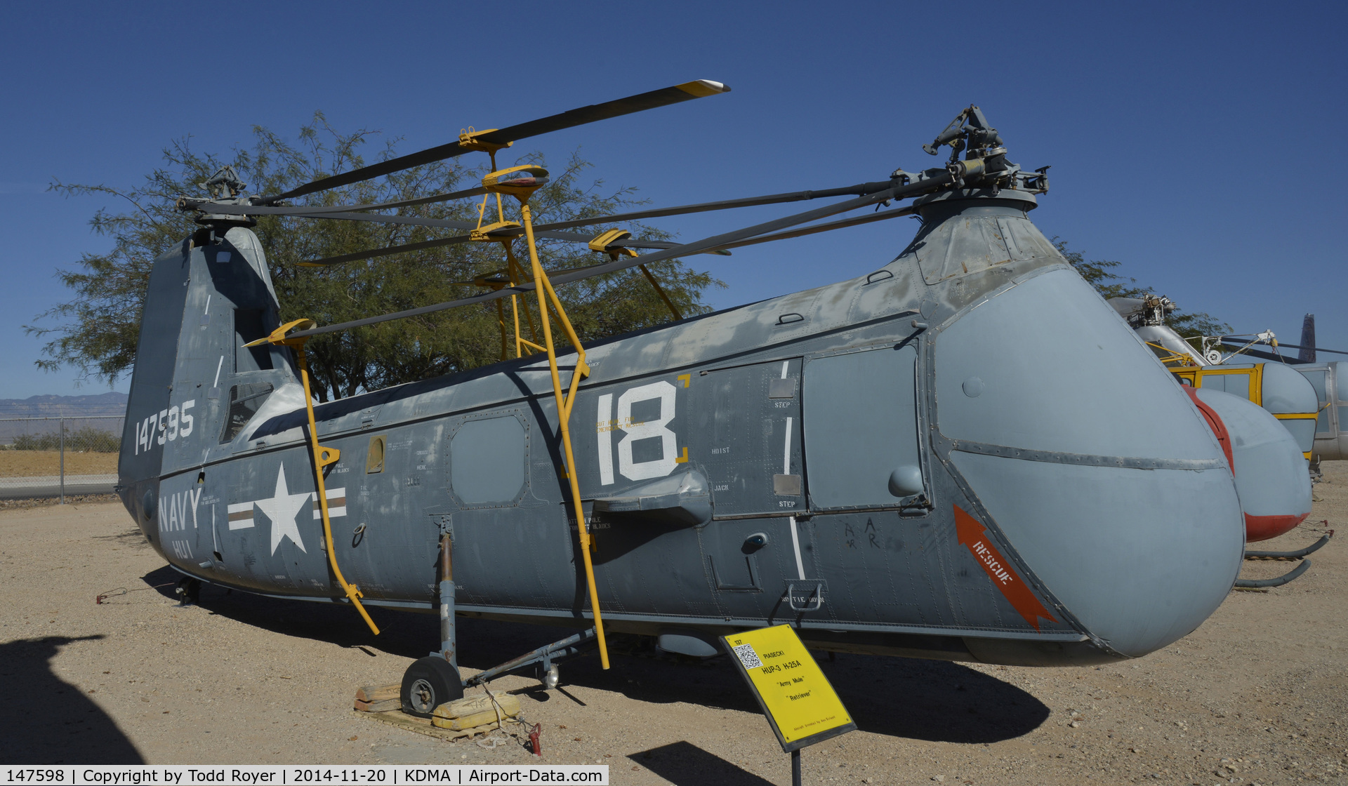 147598, Piasecki HUP-3 Retriever C/N Not found 147598, On display at the Pima Air and Space Museum