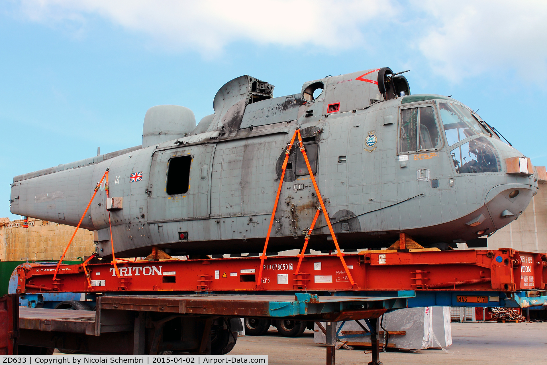 ZD633, Westland Sea King HAS.6 C/N WA942, Waiting to be delivered to it's new location