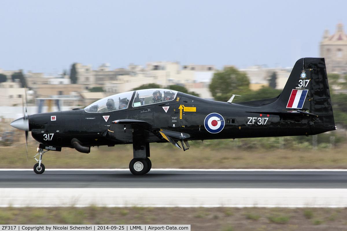 ZF317, Short S-312 Tucano T1 C/N S098/T69, Landing runway 31 for the Malta International Airshow 2014