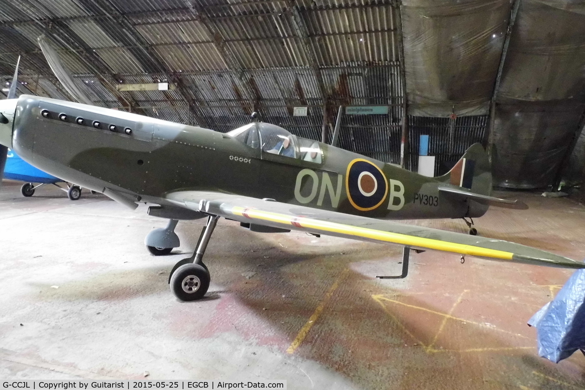 G-CCJL, 2007 Supermarine Aircraft Spitfire Mk.26 C/N PFA 324-14053, City Airport Manchester. Showing registration PV303