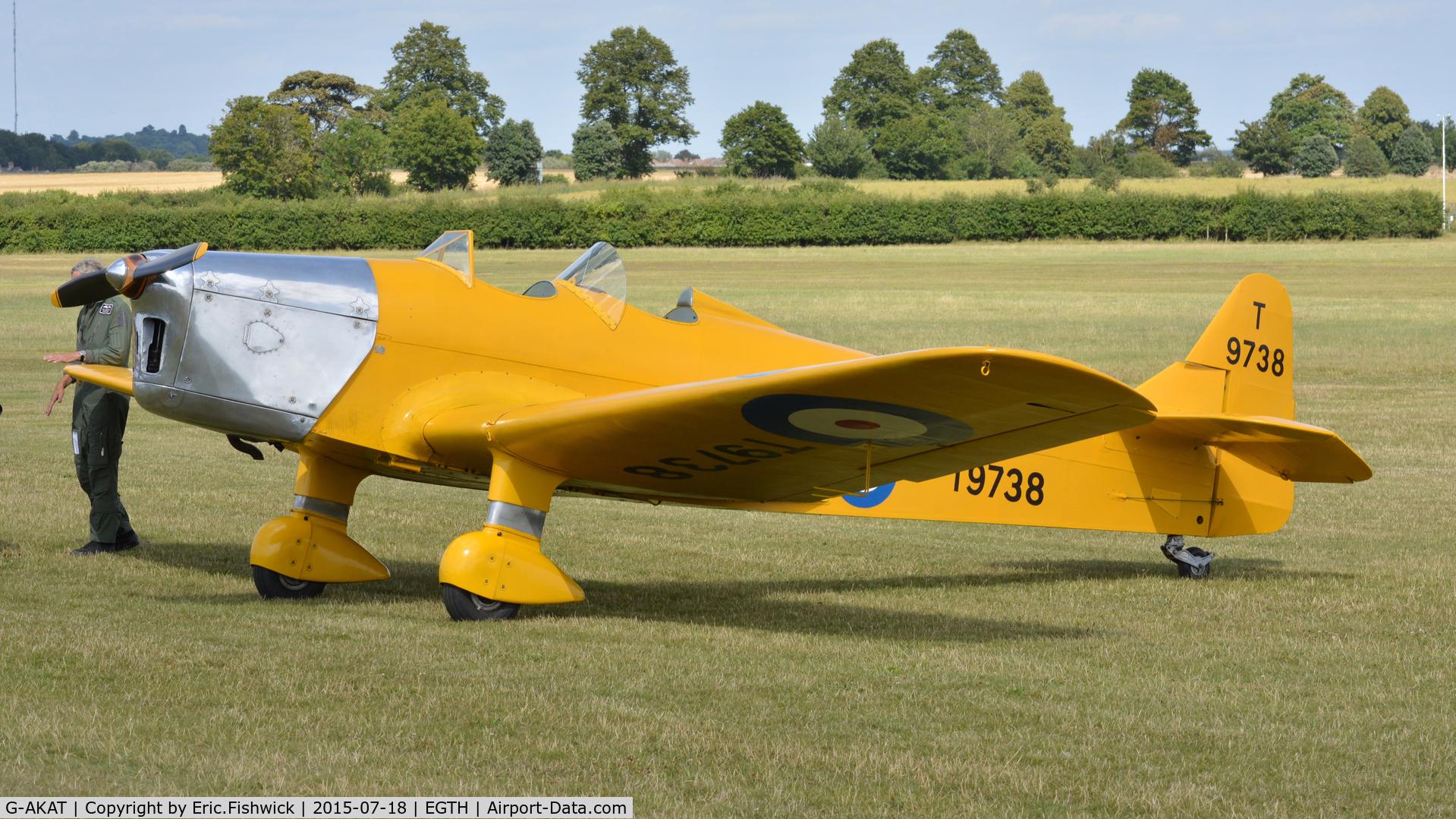 G-AKAT, 1940 Miles M14A Hawk Trainer 3 C/N 2005, 3. T9738 at Shuttleworth Best of British Airshow, July 2015.