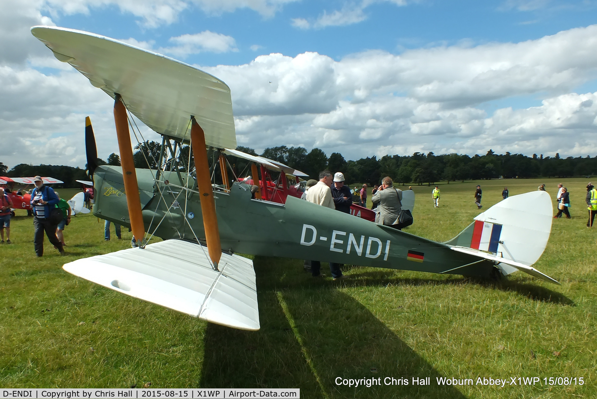 D-ENDI, 1939 De Havilland DH-82A Tiger Moth II C/N 82335, International Moth Rally at Woburn Abbey 15/08/15