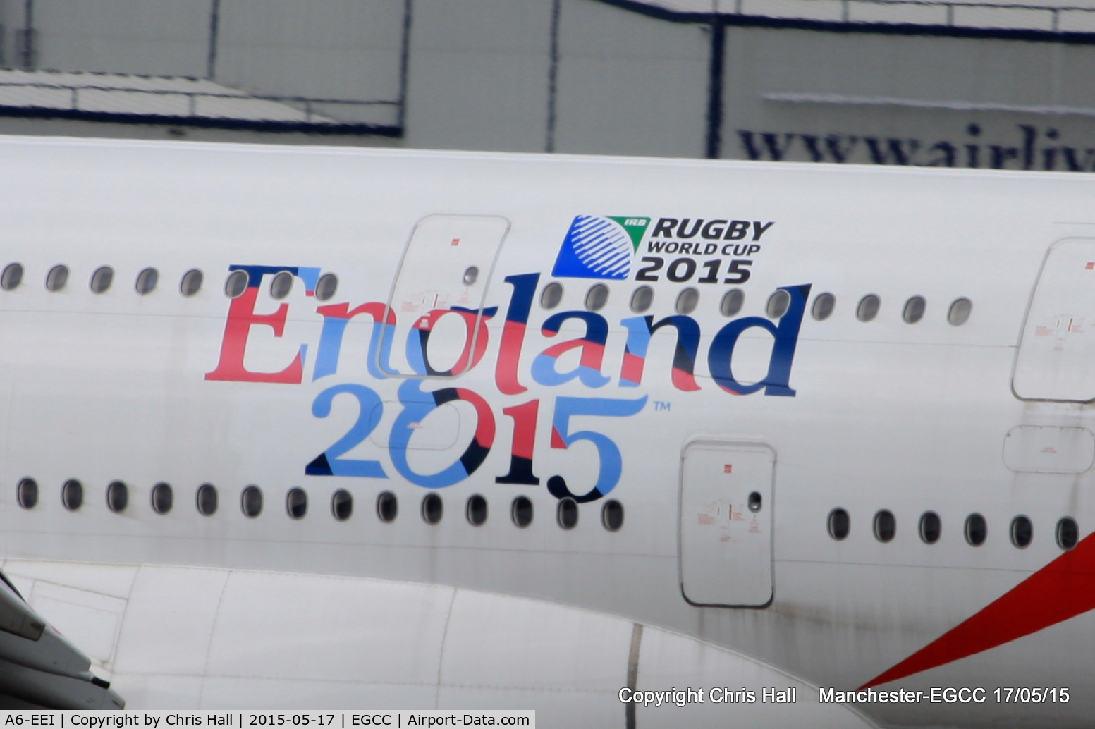A6-EEI, 2012 Airbus A380-861 C/N 123, England Rugby world cup logo