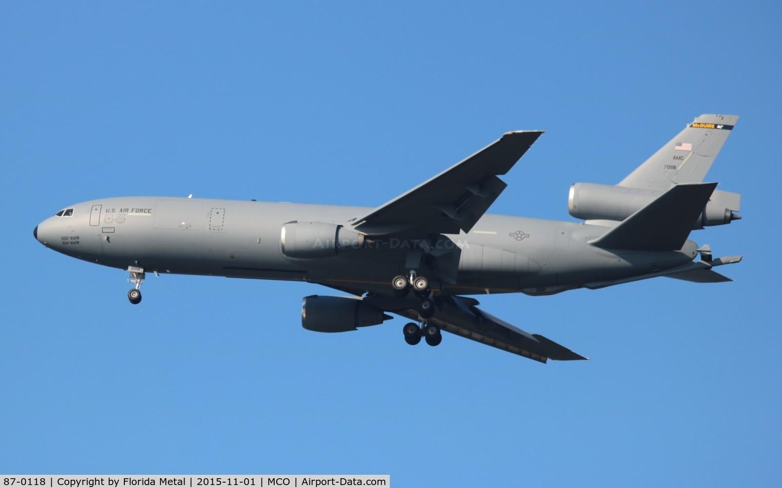 87-0118, 1987 McDonnell Douglas KC-10A Extender C/N 48304, KC-10A