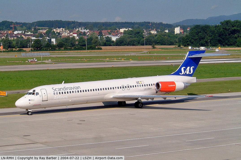 LN-RMH, 1991 McDonnell Douglas MD-87 C/N 49612, Douglas DC-9-87 [49612] (SAS Scandinavian Airlines) Zurich~HB 22/07/2004