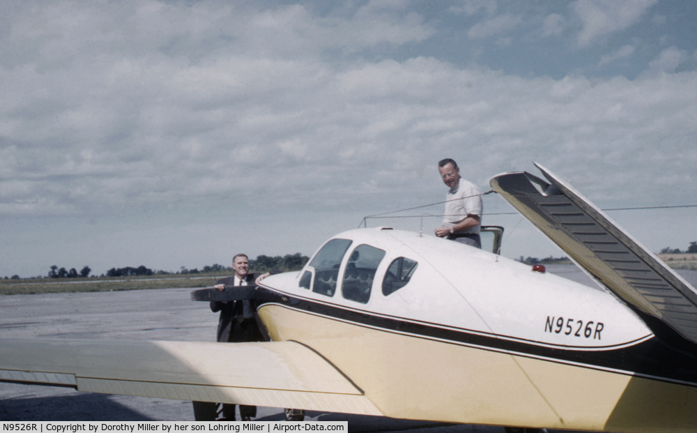 N9526R, 1959 Beech K35 Bonanza C/N D-6157, This was Franklin Millers 4th Bonanza.  The picture, taken at the Meadville, Pa airport, has future Pennsylvania governor, Raymond Shaffer, leaning on the propeller with Franklin Miller standing on the wing.