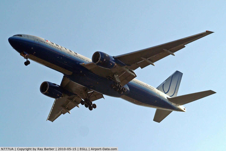 N777UA, 1995 Boeing 777-222 C/N 26916, Boeing 777-222 [26916] (United Airlines) Home~G 15/05/2010. On approach 27R. Earlier scheme.