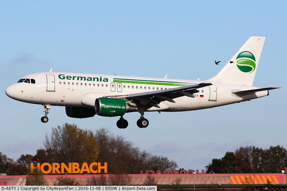 D-ASTY, 2008 Airbus A319-112 C/N 3407, Germania (GMI/ST)