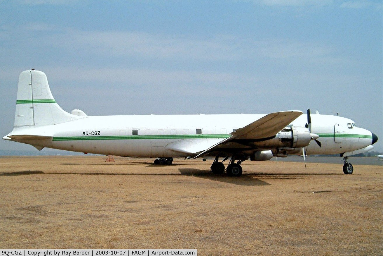 9Q-CGZ, 1951 Douglas C-118A Liftmaster (DC-6A) C/N 43573, Douglas DC-6C-118A [43573] (Services Air) Johannesburg-Rand~ZS 07/10/2003