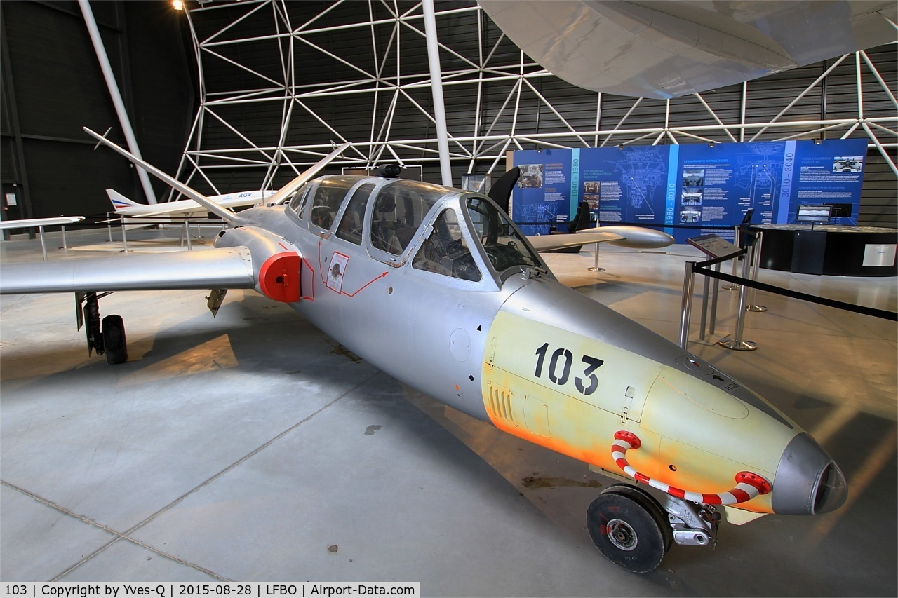 103, Fouga CM-170R Magister C/N 103, Fouga CM-170R Magister, preserved at Aeroscopia museum, Toulouse-Blagnac