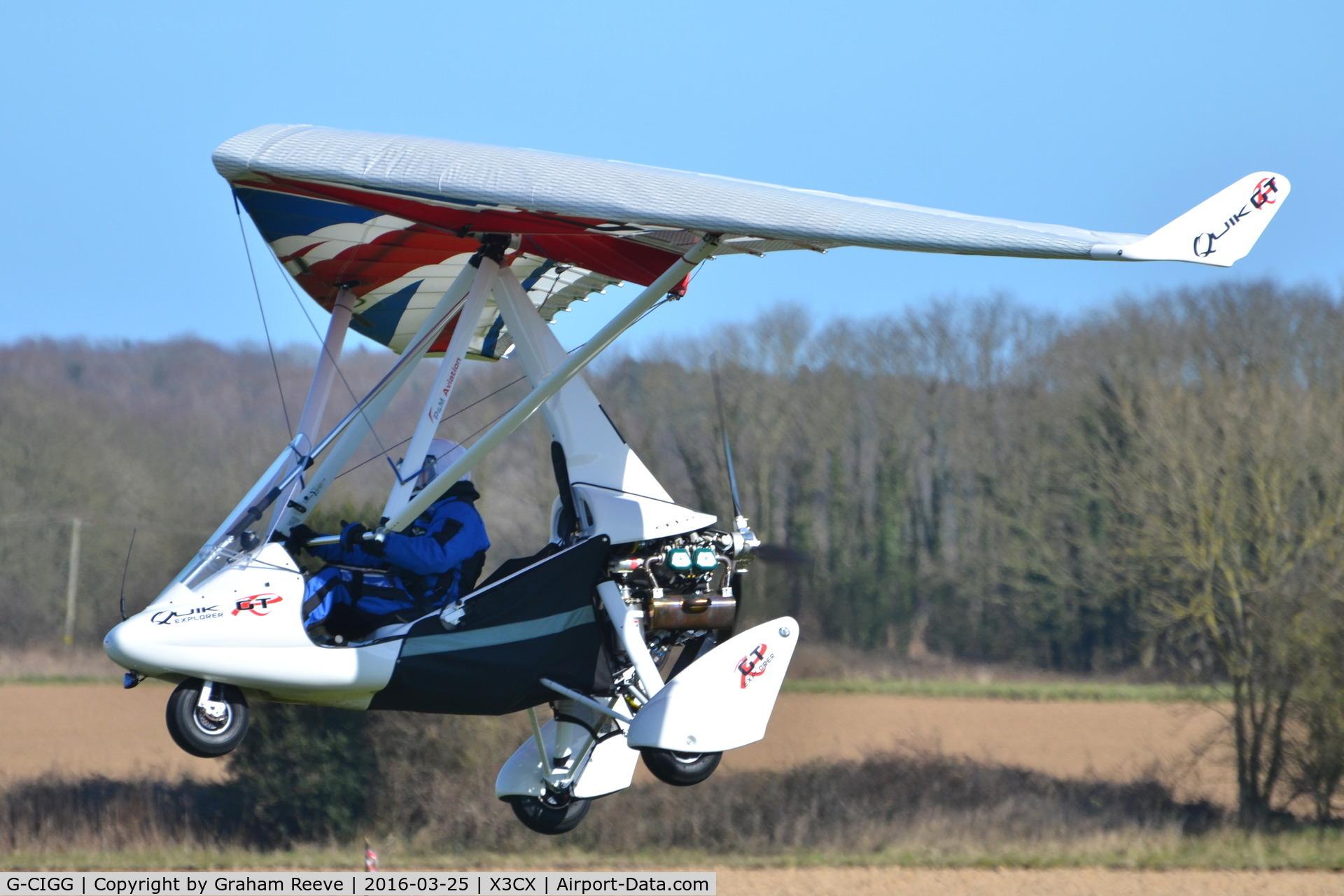 G-CIGG, 2014 P&M Aviation Quik GTR C/N 8690, Departing from Northrepps.