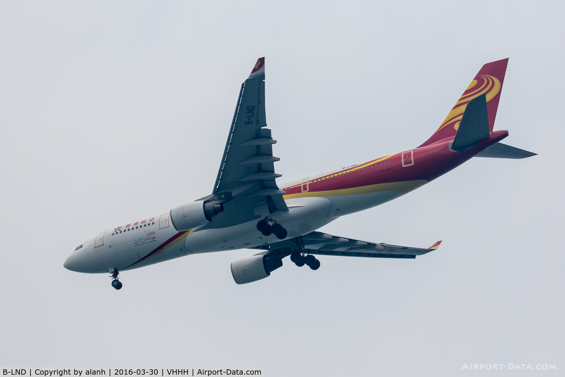 B-LND, 2010 Airbus A330-223 C/N 1042, On finals for Hong Kong, inbound from Beijing Capital Int'l