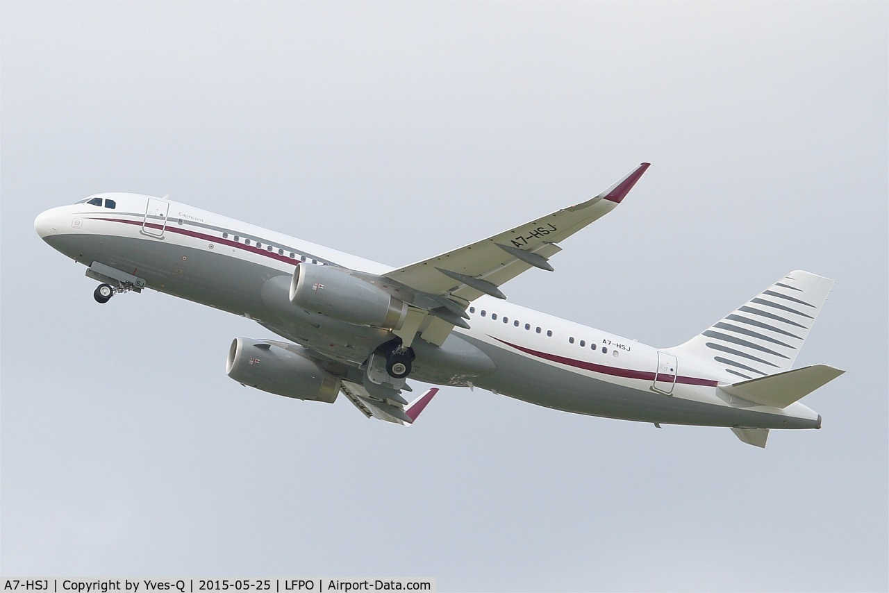 A7-HSJ, 2012 Airbus ACJ320 (A320-232/CJ) C/N 5255, Airbus A320-232(CJ) Prestige, Take off rwy 24, Paris-Orly airport (LFPO-ORY)