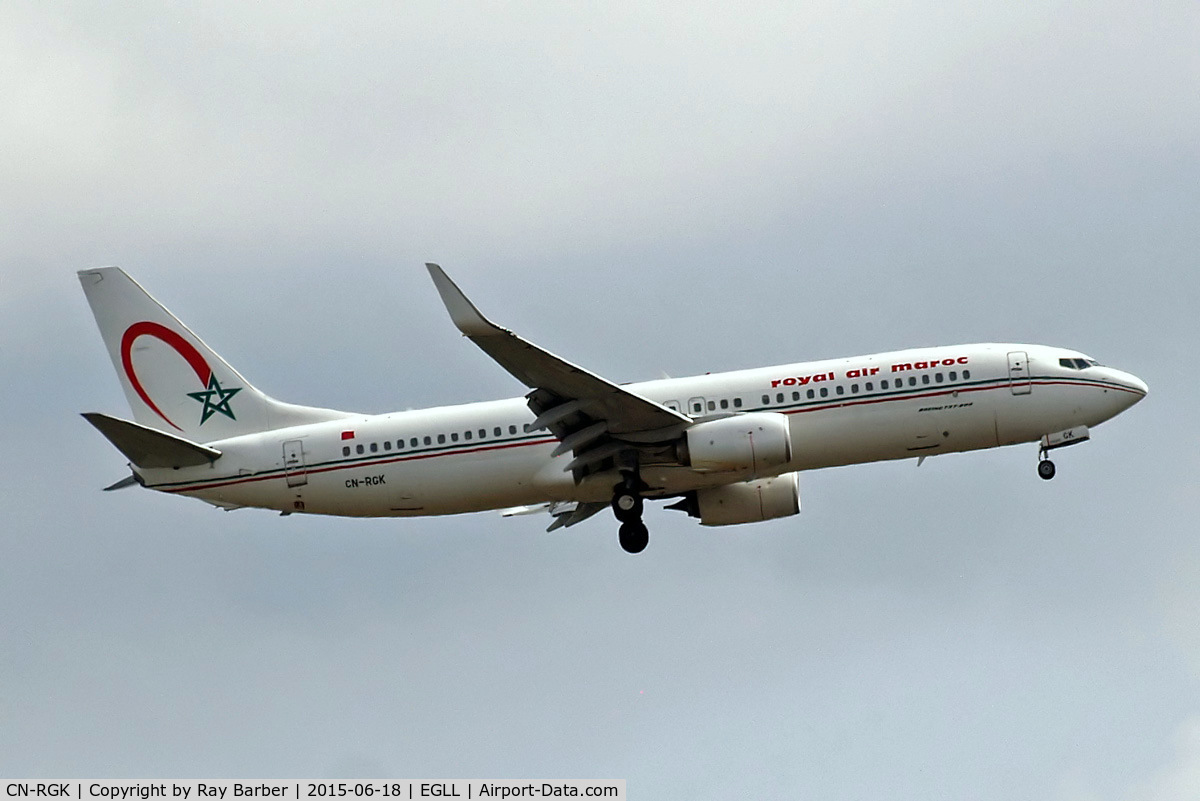 CN-RGK, 2012 Boeing 737-8B6 C/N 33073, Boeing 737-8D6 [33073] (Royal Air Maroc) Home~G 18/06/2015. On approach 27L.