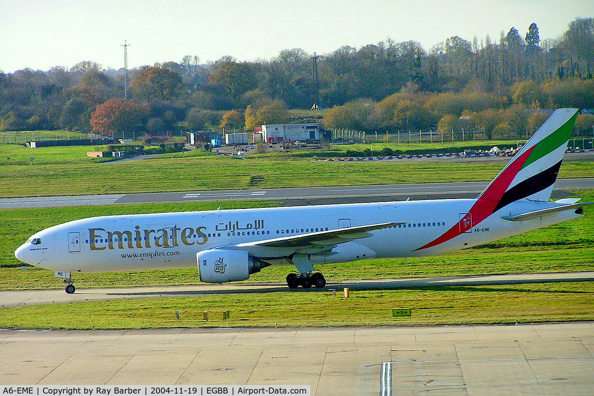 A6-EME, 1996 Boeing 777-21H C/N 27248, Boeing 777-21H [27248] (Emirates Airlines) Birmingham Int'l~G 19/11/2004
