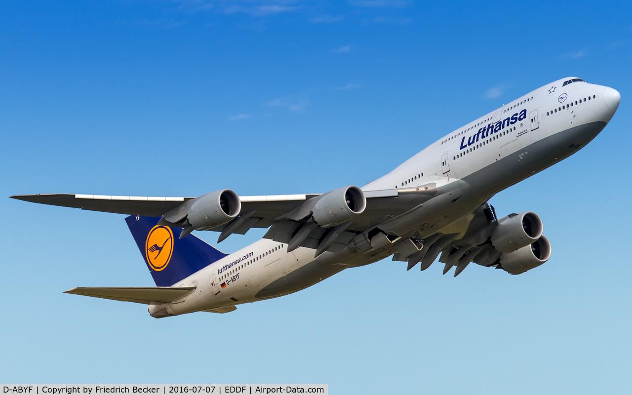D-ABYF, 2012 Boeing 747-830 C/N 37830, departure via RW25C