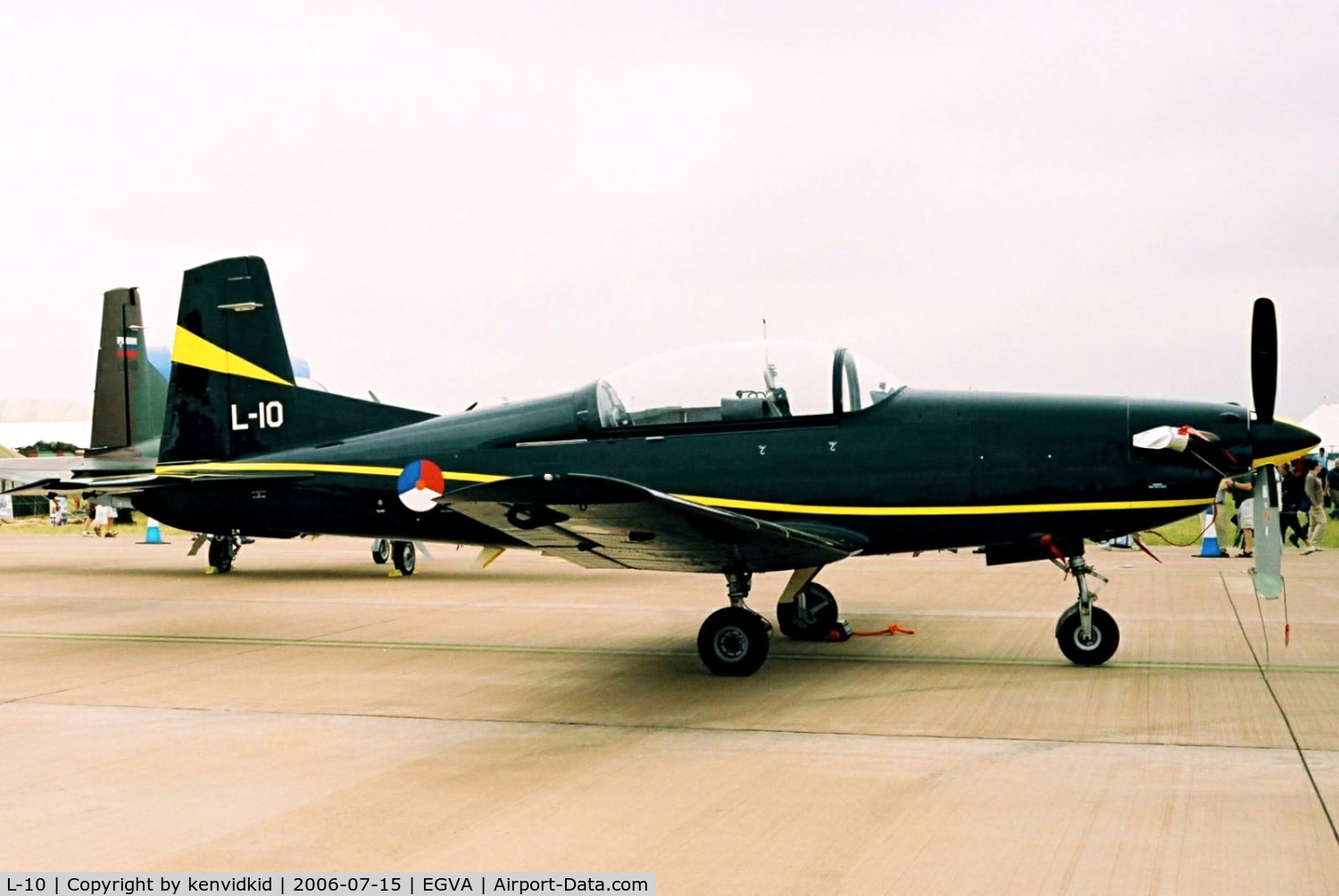 L-10, Pilatus PC-7 Turbo Trainer C/N 547, Royal Netherlands Air Force on static display at RIAT.