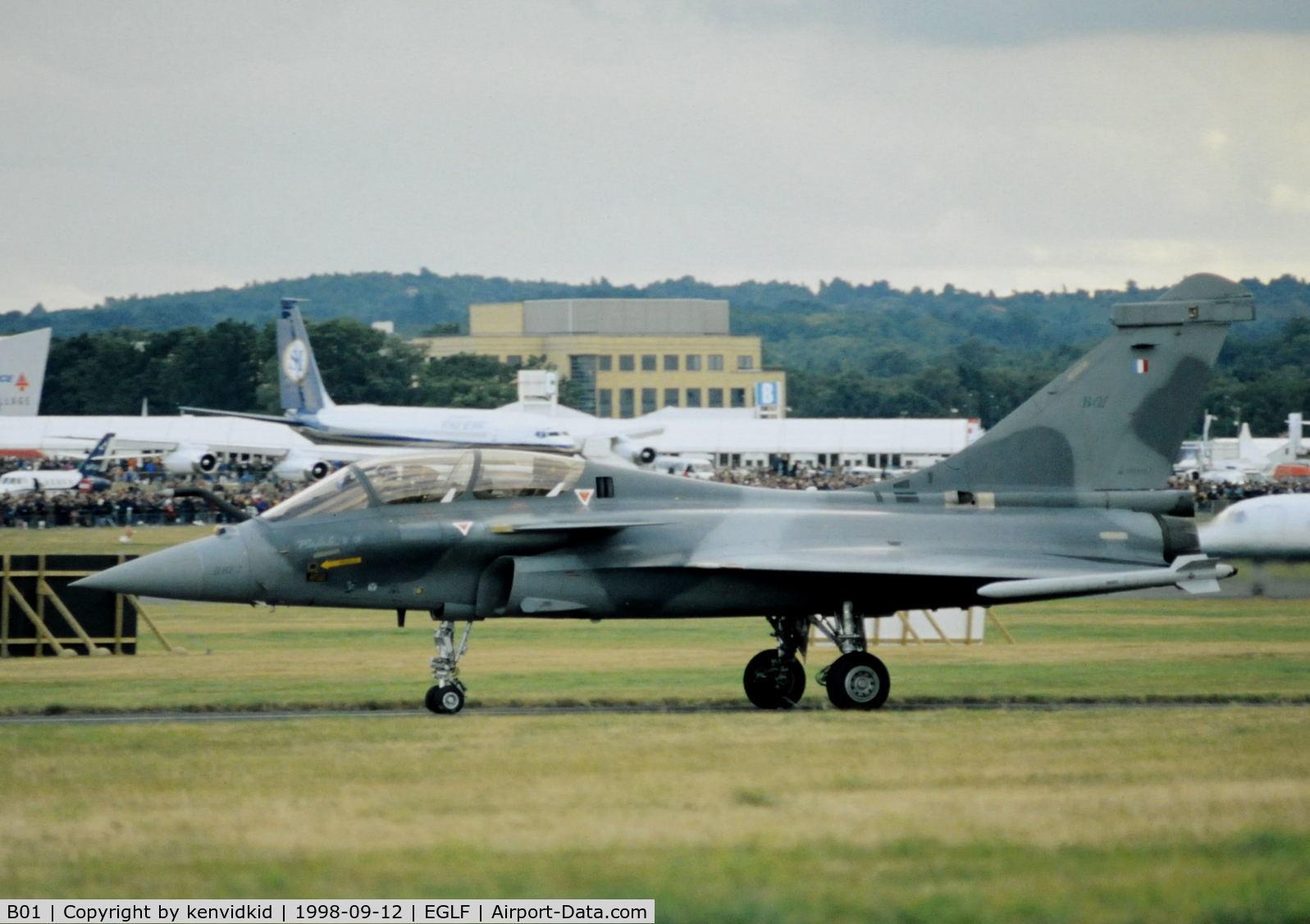 B01, Dassault Rafale B C/N B01, Taxying for take off at the 1998 Farnborough International Air Show.