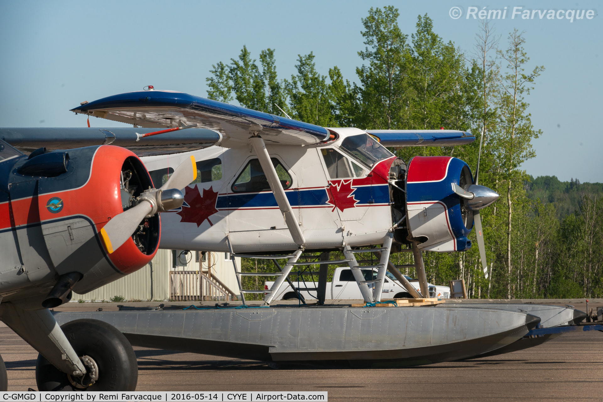 C-GMGD, 1954 De Havilland Canada DHC-2 Beaver Mk.1 C/N 519, Parked in front of private hanger, NE part of airport.