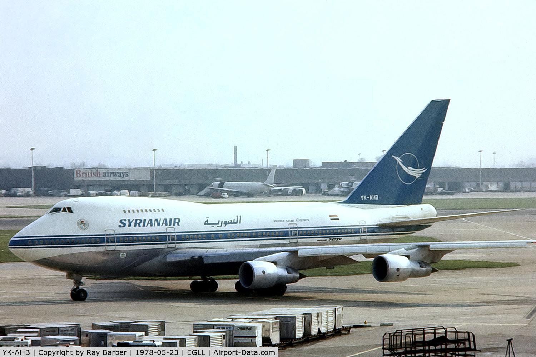 YK-AHB, 1976 Boeing 747SP-94 C/N 21175, Boeing 747SP-94 [21175] (Syrianair) Heathrow~G 23/05/1978. From a slide.