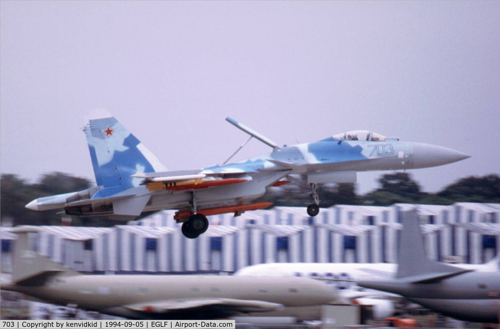 703, 1991 Sukhoi Su-35 C/N Not found 703, At the 1994 Farnborough International Air Show. Scanned from slide.