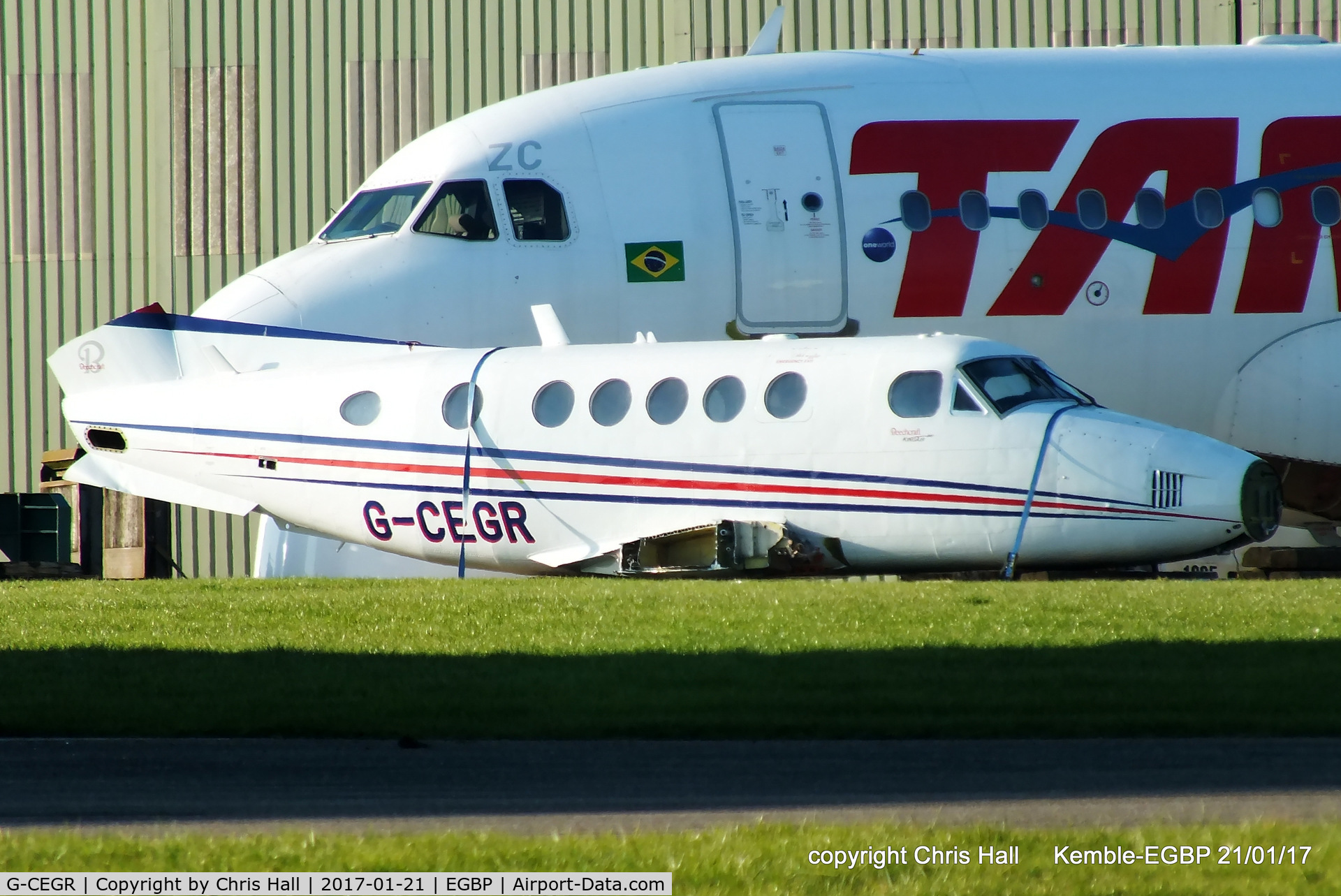 G-CEGR, 1978 Beech 200 Super King Air C/N BB-351, being parted out by ASI at Kemble