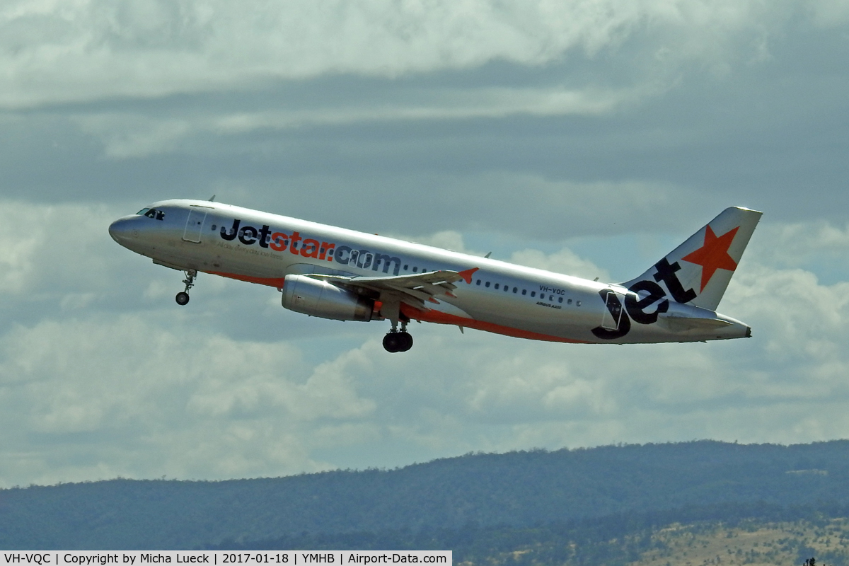 VH-VQC, 2008 Airbus A320-232 C/N 3668, At Hobart