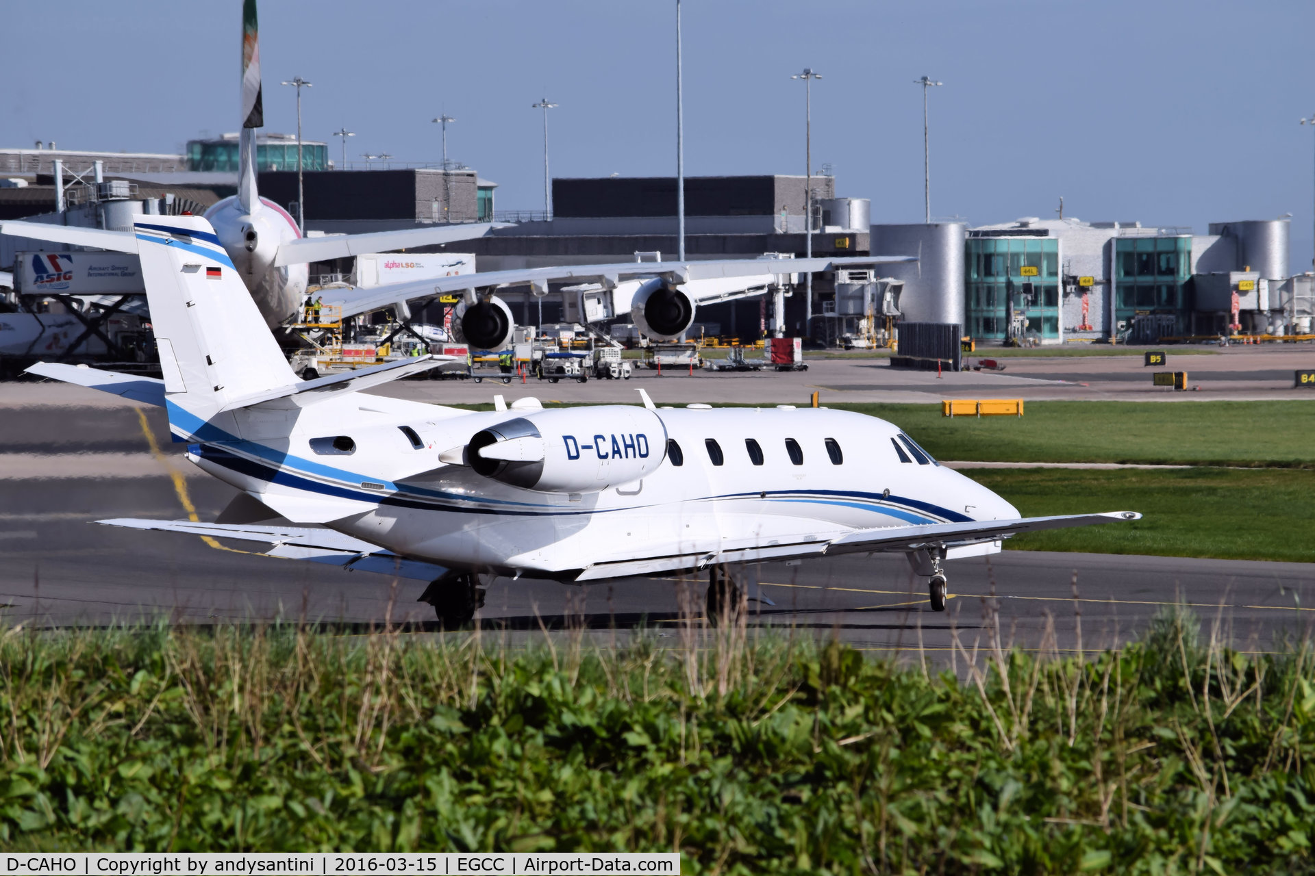 D-CAHO, 2014 Cessna 560 Citation Excel XLS+ C/N 560-6165, taxing out for take off