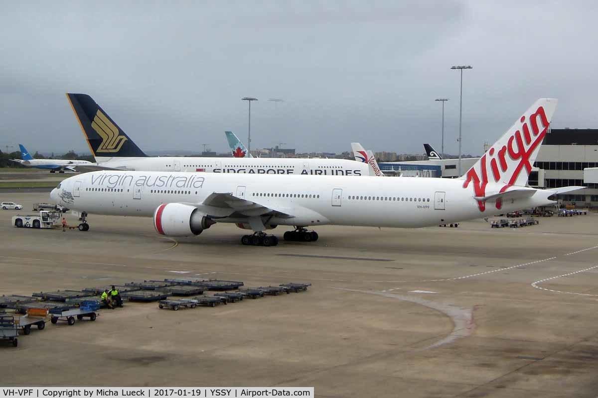 VH-VPF, 2009 Boeing 777-3ZG/ER C/N 37940, At Mascot
