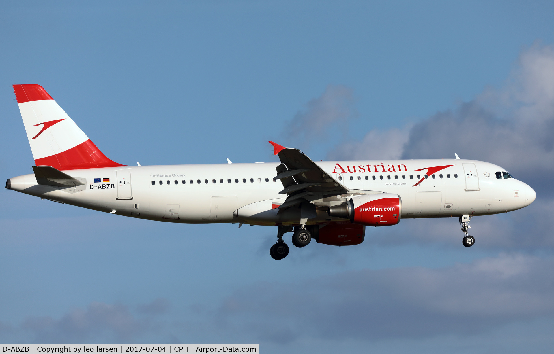 D-ABZB, 2008 Airbus A320-216 C/N 3515, Copenhagen 4.7.2017 now in service with Austrian