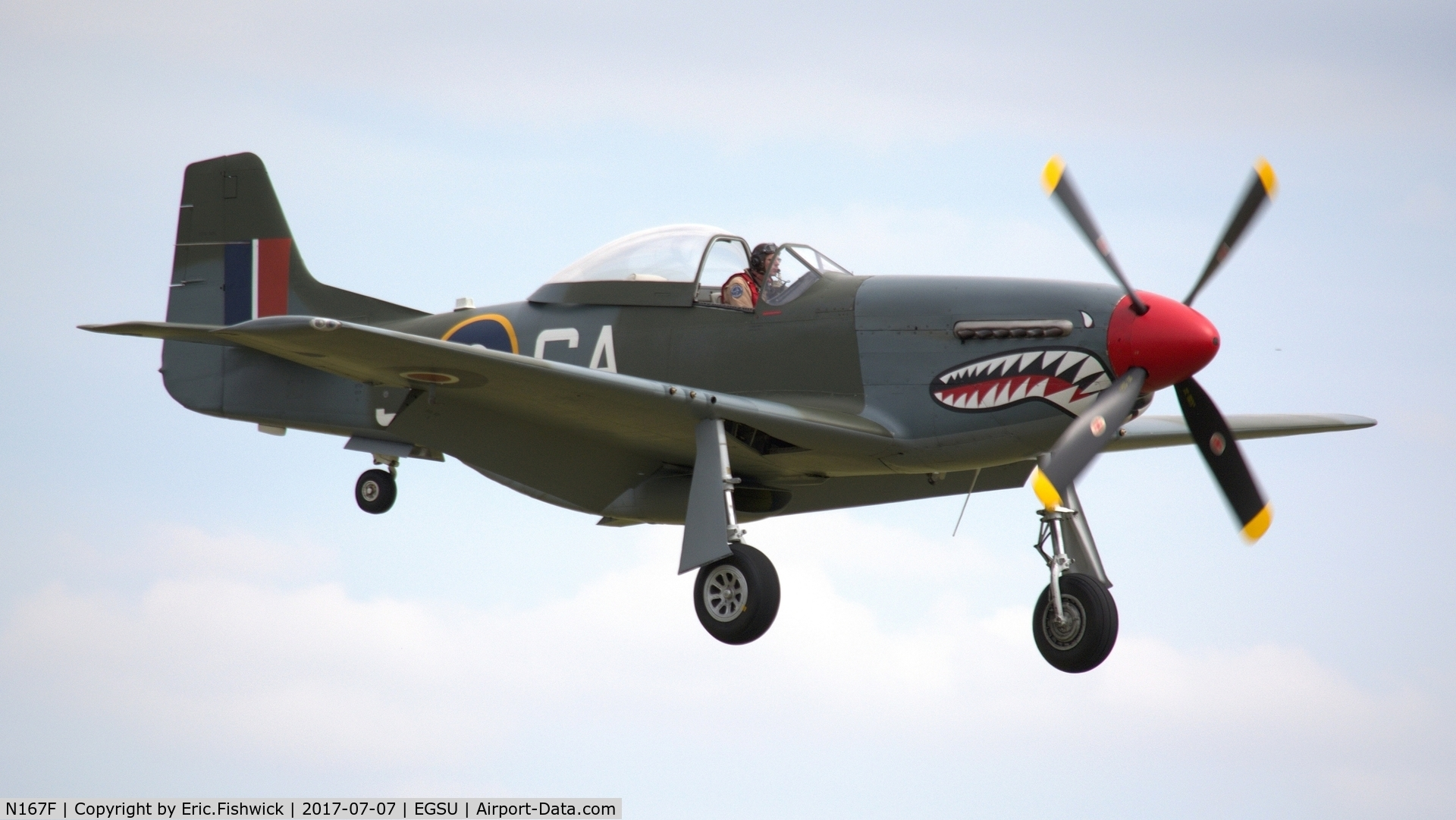 N167F, 1944 North American P-51D Mustang C/N 122-40417, cr. N167F - 'The Shark' on the eve of The Flying Legends Airshow, July 2017.
