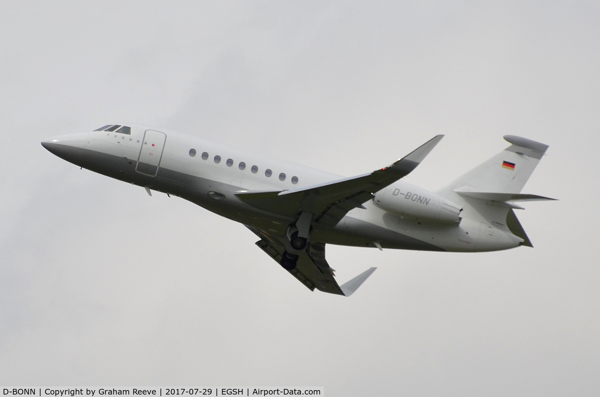 D-BONN, 2007 Dassault Falcon 2000EX C/N 118, Departing from Norwich.