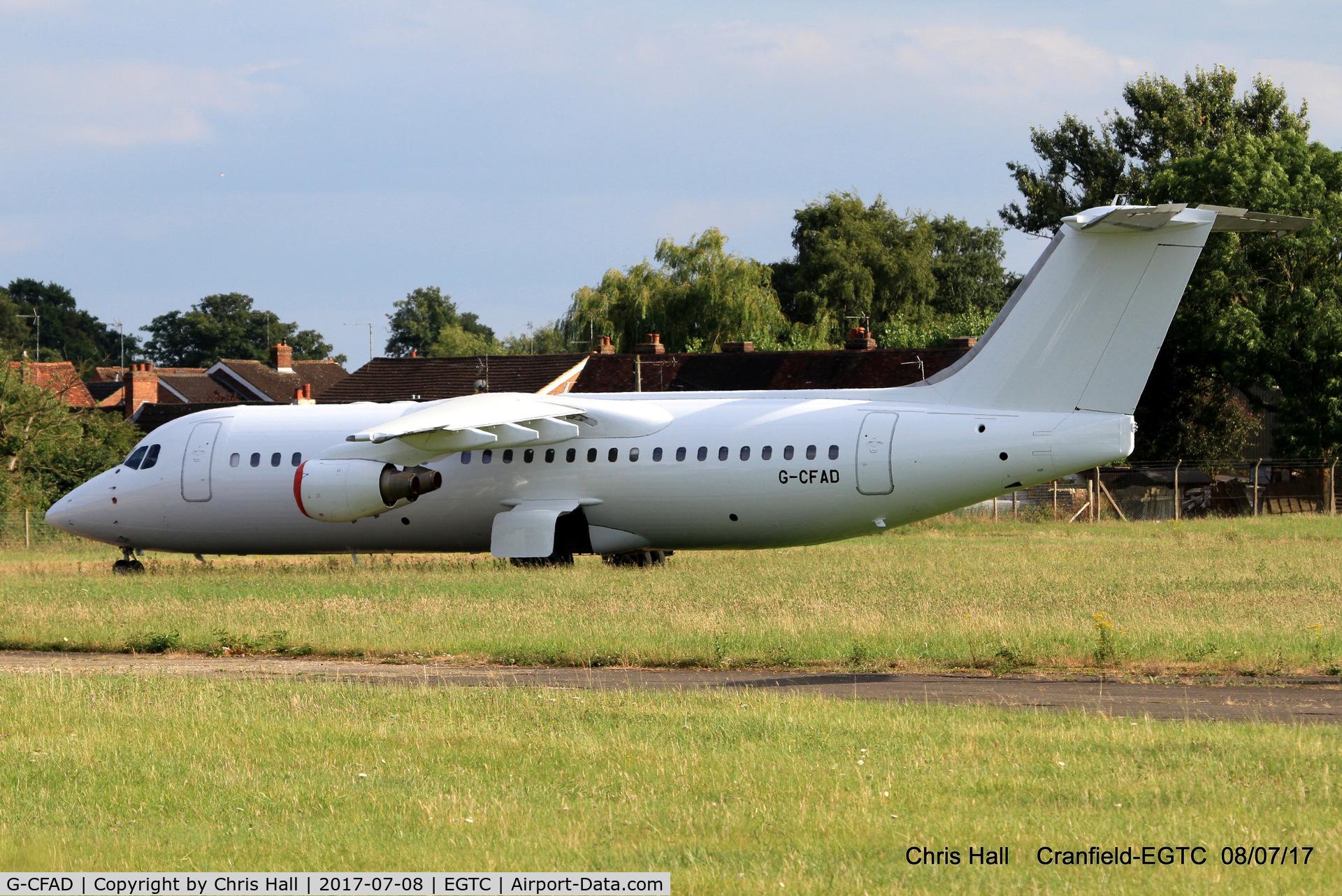 G-CFAD, 2000 British Aerospace Avro 146-RJ100 C/N E3380, stored at Cranfield