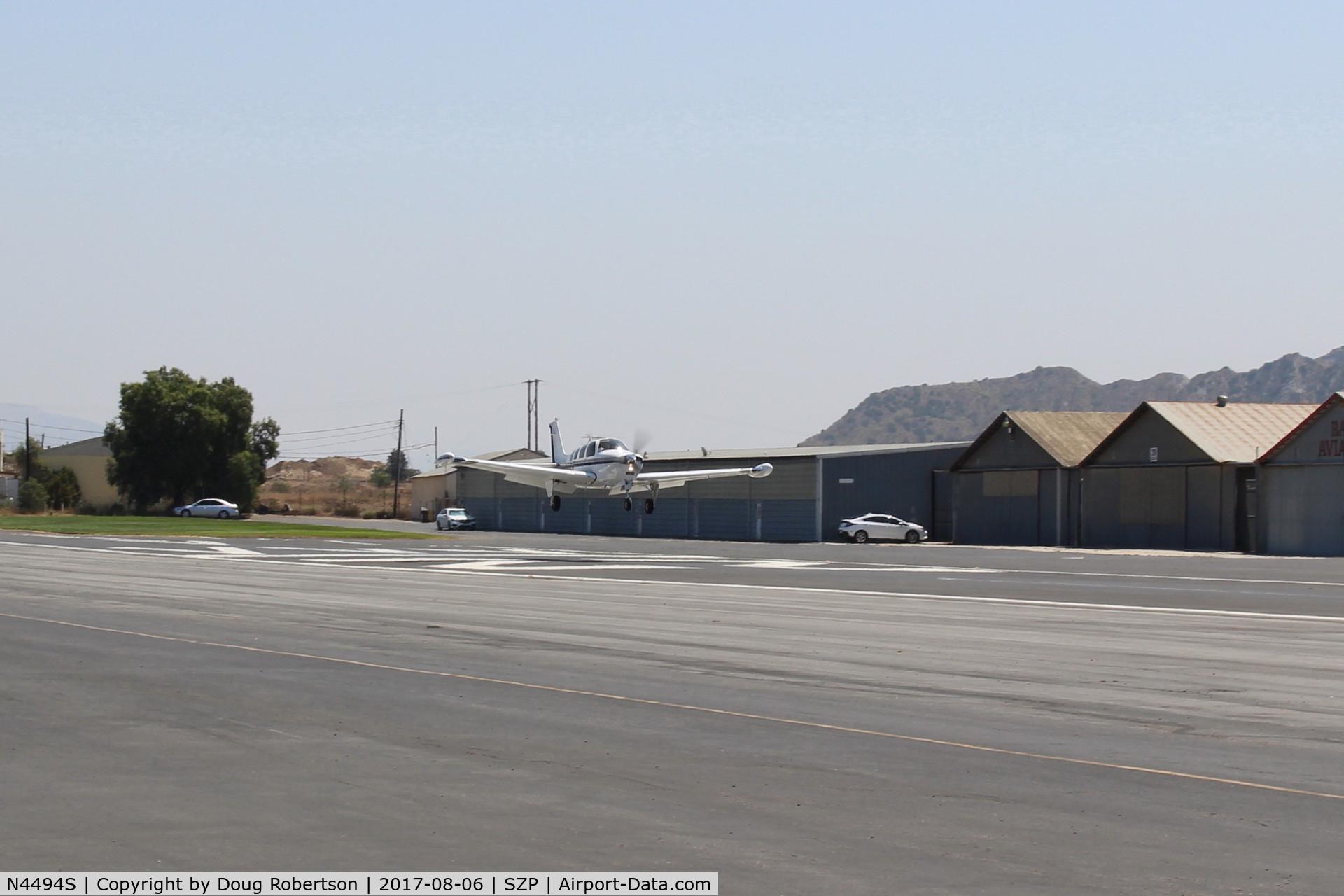 N4494S, 1975 Beech A36 Bonanza 36 C/N E-709, 1975 Beech A36 BONANZA, Continental IO-520 285 Hp, landing Rwy 22