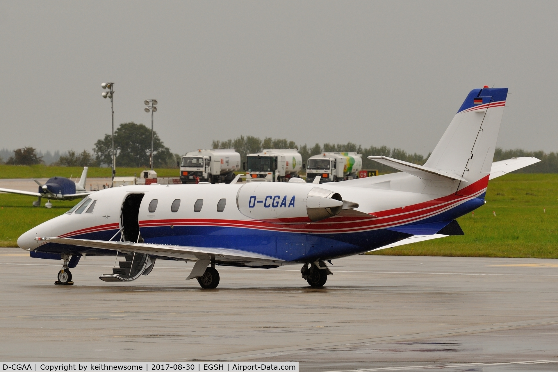 D-CGAA, 2014 Cessna 560 Citation Excel XLS+ C/N 560-6173, Parked at wet Norwich.