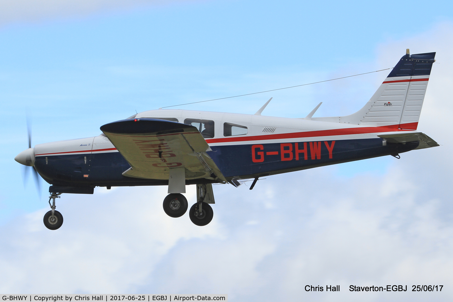 G-BHWY, 1973 Piper PA-28R-200-2 Cherokee Arrow II C/N 28R-7435059, Project Propeller at Staverton
