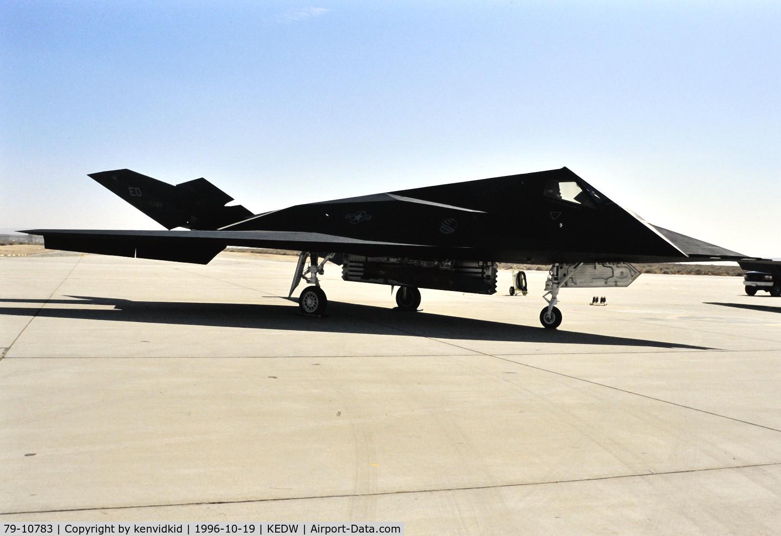 79-10783, 1979 Lockheed YF-117A Nighthawk C/N A.4008, On static display at the Edwards Open House 1996.