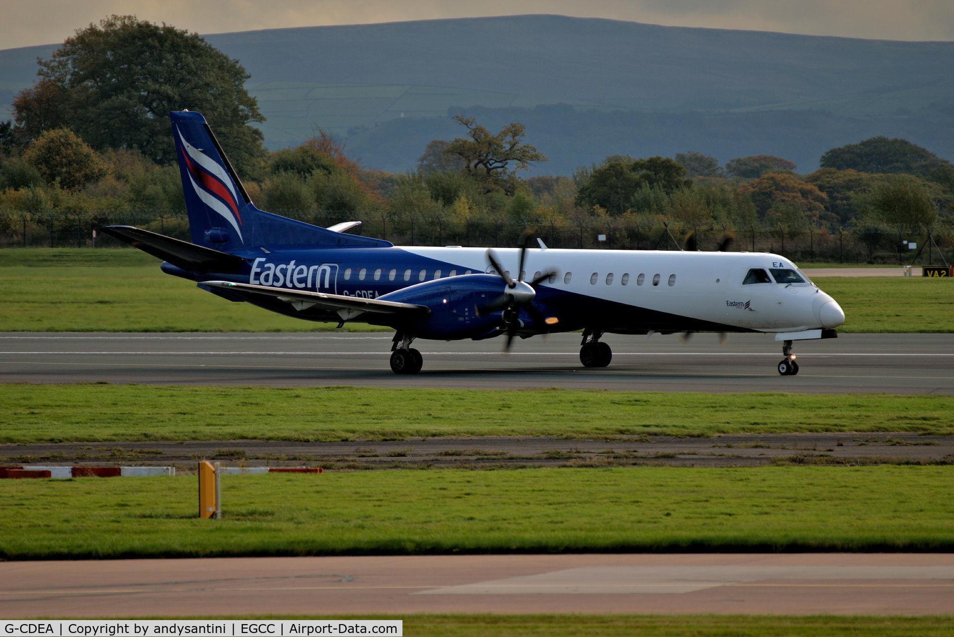 G-CDEA, 1994 Saab 2000 C/N 2000-009, just landed on runway [23R]