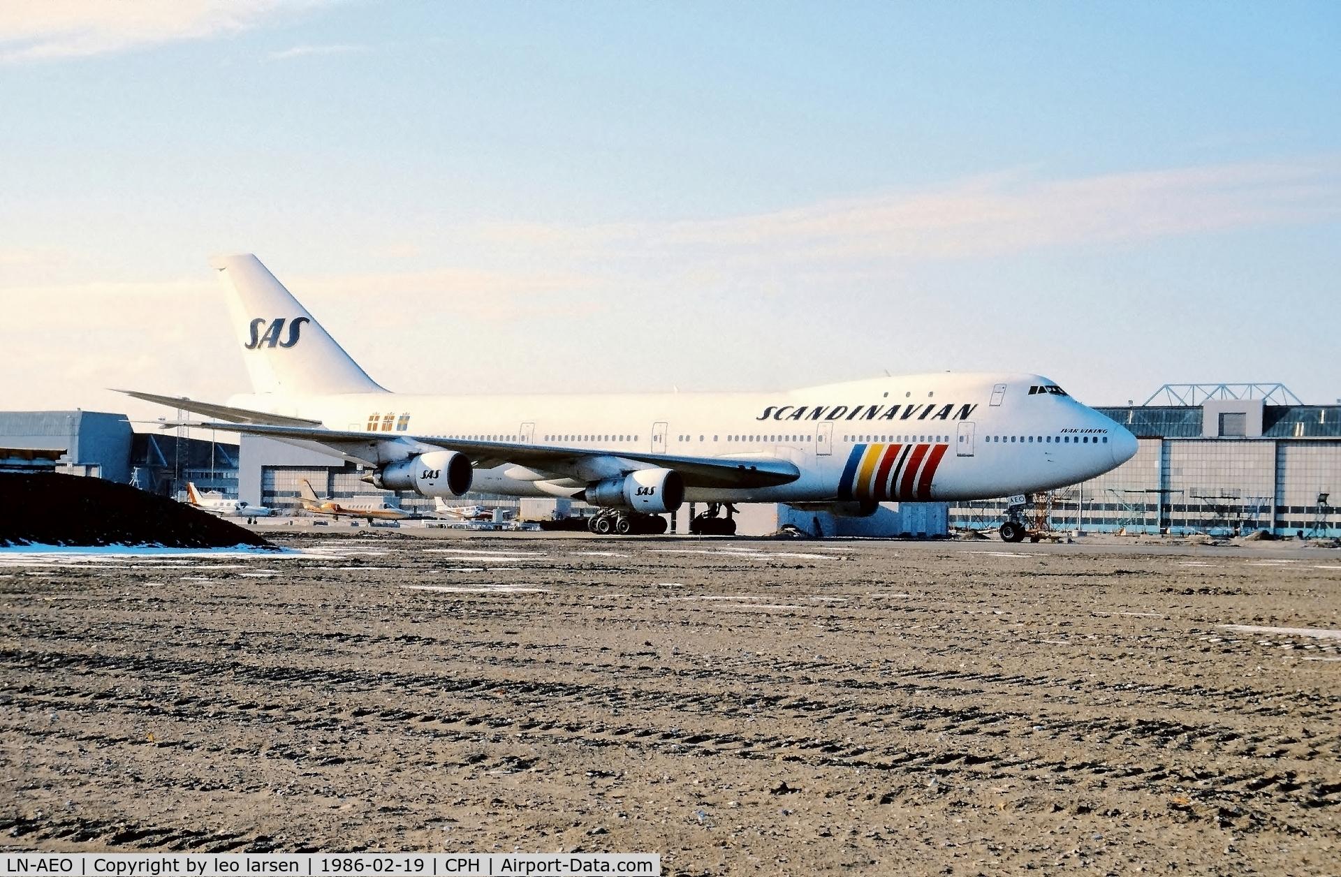 LN-AEO, 1971 Boeing 747-283B C/N 20121, Copenhagen 19.2.1986