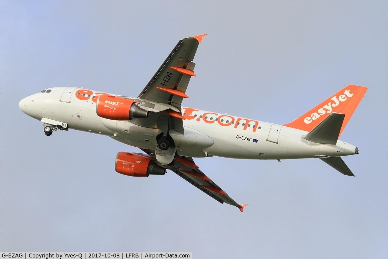 G-EZAG, 2006 Airbus A319-111 C/N 2727, Airbus A319-111, Take off rwy 25L, Brest-Bretagne airport (LFRB-BES)
