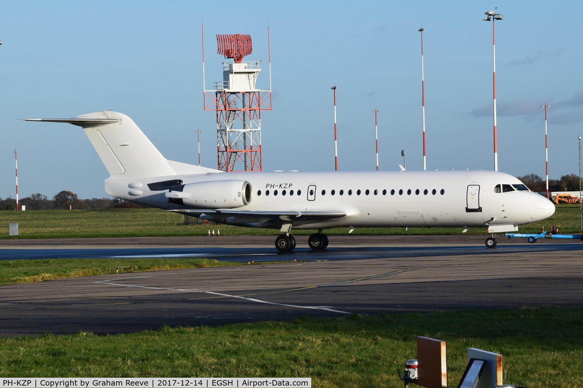 PH-KZP, 1995 Fokker F70 (F-28-0070) C/N 11539, Under tow at Norwich.