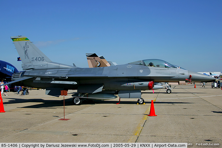 85-1406, 1985 General Dynamics F-16C Fighting Falcon C/N 5C-186, F-16C Fighting Falcon 85-1406  from 134th FS