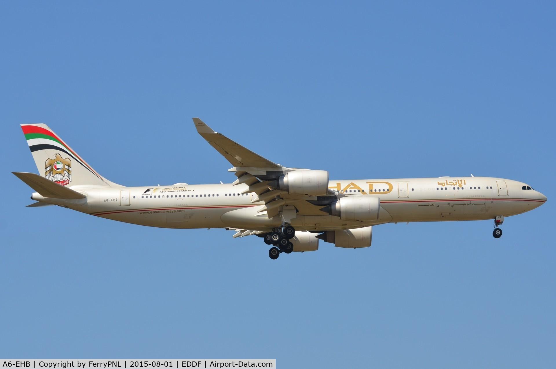 A6-EHB, 2006 Airbus A340-541 C/N 757, Etihad A345 landing in FRA