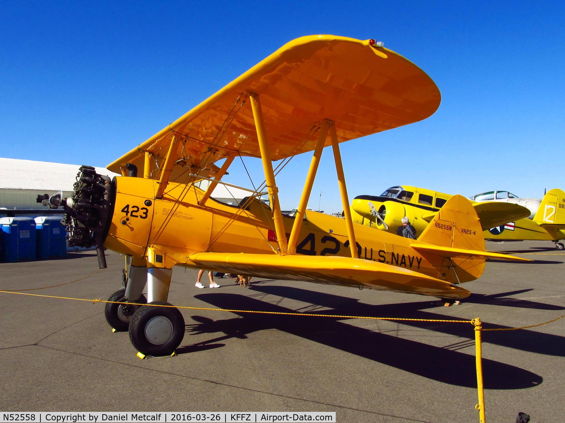 N52558, 1943 Boeing A75N1(PT17) C/N 75-4894, Falcon Field Municipal Airport Open House 2016